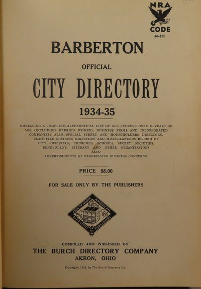 Image for Barberton Official City Directory 1934-35 Volume 27