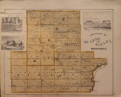 Image for Map of McLeod and Sibley Counties 1874 - from Illustrated Historical Atlas  of the State of Minnesota