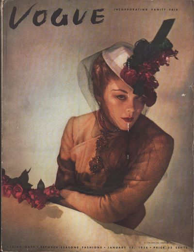 "Image for ""Vogue Magazine, January 15, 1938 Spring Hats - Between Seasons Fashions"""