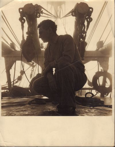 Image for Original folio gelatin silver photograph of Elia Kazan aboard freighter.