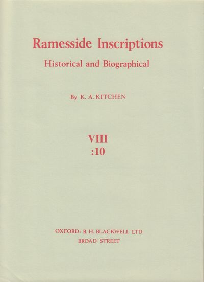 Image for Ramesside Insciptions VIII: 1-10 (Complete) Historical and Biographical