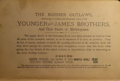 Image for The Border Outlaws. An Authentic and Thrilling History of the Most Noted Bandits of Ancient or Modern Times, The Younger Brothers, Jesse and Frank James, and Their Comrades in Crime. Embracing Complete and Authentic Lives of the Younger and James Brothers, And Their Bands of Highwaymen.