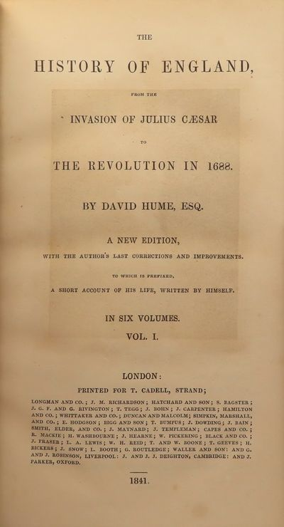 Image for The History of England, from the Invasion of Julias Caesar to the Revolution in 1688 (6 Volumes--Complete) A New Edition, with the Author's last corrections and improvements. To which is prefixed, a short account of his life, written by himself.