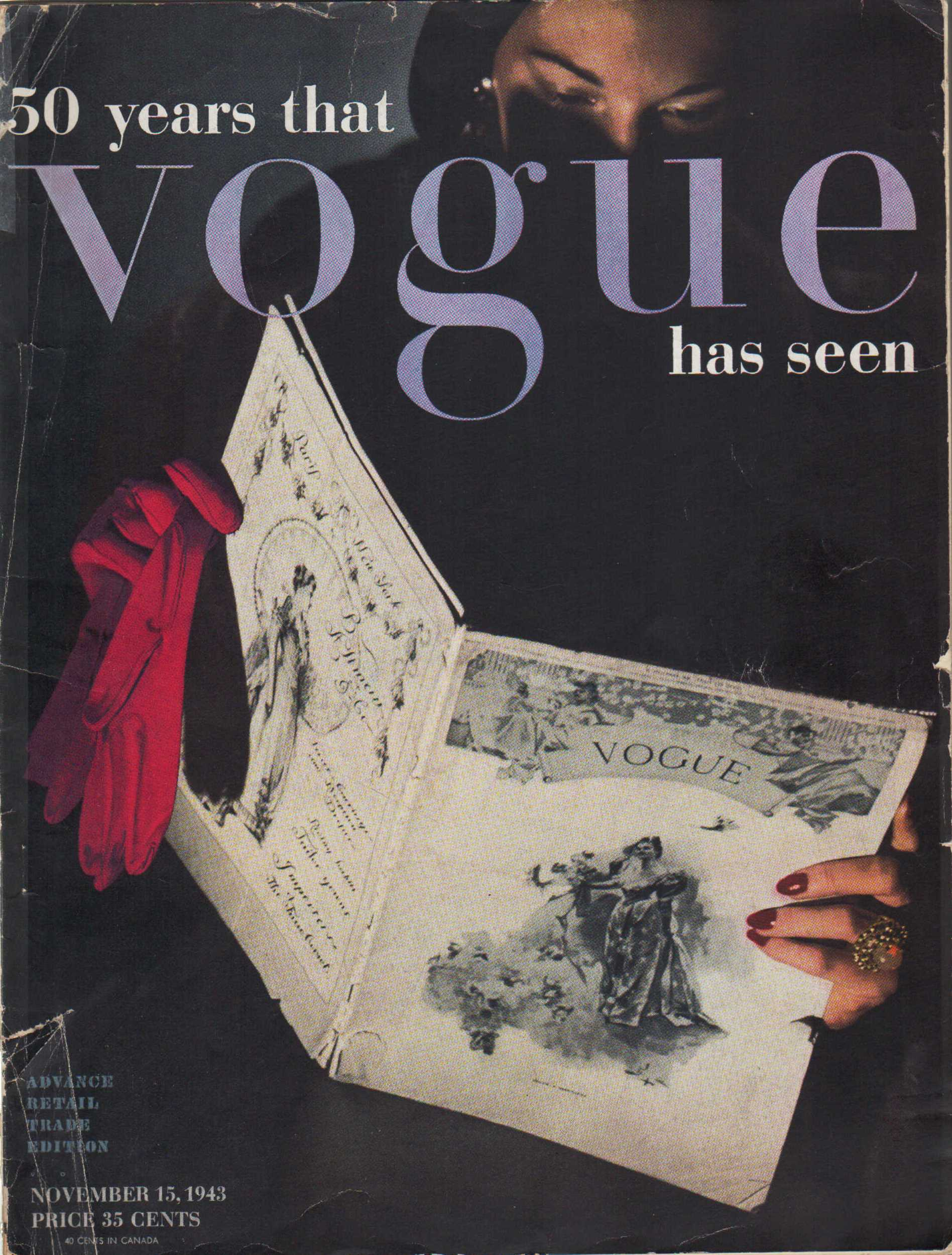 "Image for ""Vogue Magazine, November 15, 1943 50 years that vogue has seen"""